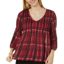 Spense Petite Plaid Ruffle Bell Sleeve V-Neck Top