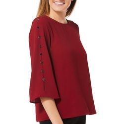 Spense Petite Solid Button Sleeve Top