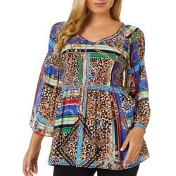 Spense Petite Mixed Chain Print Smocked V-Neck Top