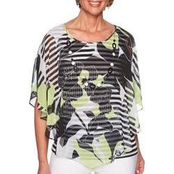 Alfred Dunner Petite Cayman Islands Floral Stripe Top