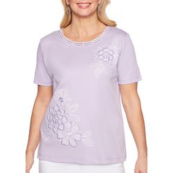 Alfred Dunner Petite Catalina Island Floral Applique Top