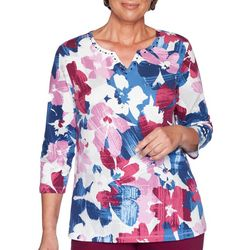 Alfred Dunner Petite Autumn Harvest Floral Print Top