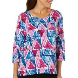 Alfred Dunner Petite Autumn Harvest Geo Print Top