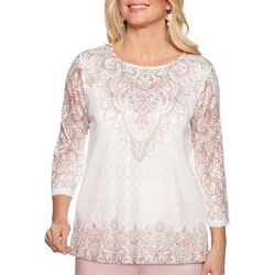 Alfred Dunner Petite Society Page Embellished Lace Top