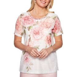 Alfred Dunner Petite Society Page Floral Braid Neck Top