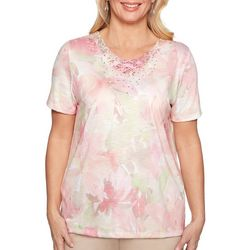 Alfred Dunner Petite Society Page Watercolor Floral Top
