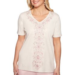 Alfred Dunner Petite Society Page Embroidered Floral Top