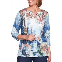 Alfred Dunner Petite News Flash Scenic Floral Top