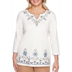 Alfred Dunner Petite Floral Scroll Emboidered Top