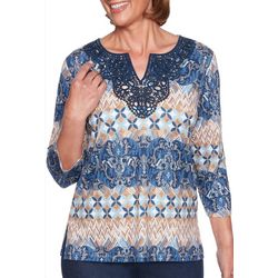 Alfred Dunner Petite Embroidered Mixed Scroll Print Top