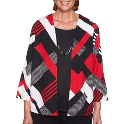 Alfred Dunner Petite Geometric Patchwork Duet Top
