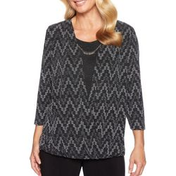 Alfred Dunner Petite Shining Moment Chevron Shimmer Top