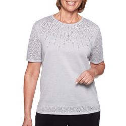 Alfred Dunner Petite Shining Moment Beaded Pointelle Top