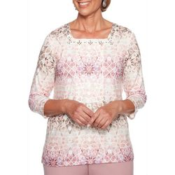 Alfred Dunner Petite Mosaic Biadere Embellished Top
