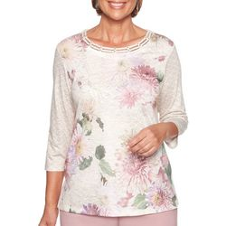 Alfred Dunner Petite Home For The Holidays Mixed Floral Top
