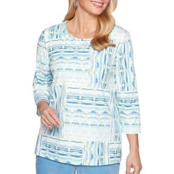Alfred Dunner Petite Geometric Patchwork Print Top