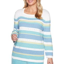 Alfred Dunner Petite Textured Biadere Stripe Sweater