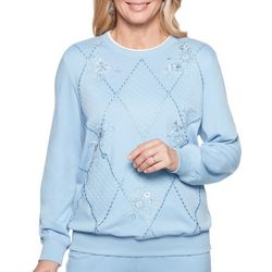 Alfred Dunner Petite Embroidered Diamond Sweater