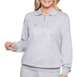 Alfred Dunner Petite Diagonal Floral Embroidered Sweater
