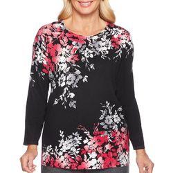 Alfred Dunner Petite Asymmetrical Flower Print Sweater