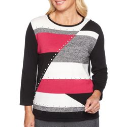 Alfred Dunner Petite Embellished Colorblocked Sweater