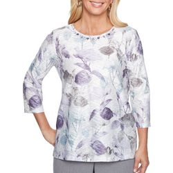 Alfred Dunner Petite Shadow Floral Embellished Top