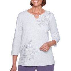 Alfred Dunner Petite Embroidered Floral Keyhole Neck Top