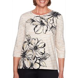 Alfred Dunner Petite Travel Light Stripe Hibiscus Top