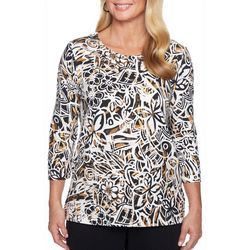Alfred Dunner Petite Travel Light Floral Petal Top