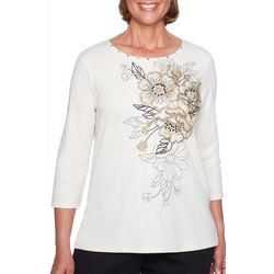 Alfred Dunner Petite Travel Light Embroidered Floral Top