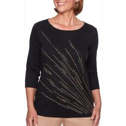 Alfred Dunner Petite Travel Light Embellished Firework Top