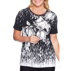 Alfred Dunner Petite Barcelona Floral Caged Neck Top