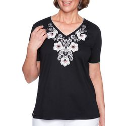 Alfred Dunner Petite Barcelona Embroidered Floral V-Neck Top