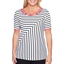Alfred Dunner Petite Embellished Mirrored Stripe Print Top