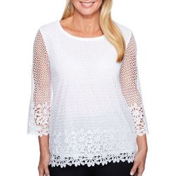 Alfred Dunner Petite Solid Crochet Top