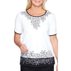 Alfred Dunner Petite Barcelona Embroidered Floral Top