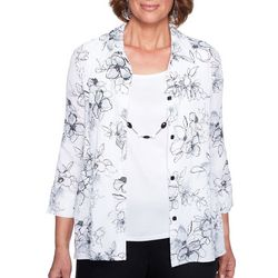 Alfred Dunner Petite Barcelona Floral Duet Top