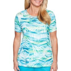 Alfred Dunner Petite Scottsdale Abstract Leaf Top