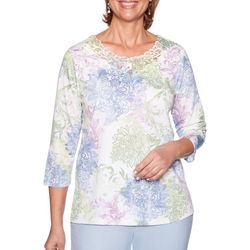 Alfred Dunner Womens Floral Damask Lace Neck Top