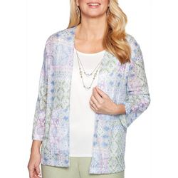 Alfred Dunner Petite Mixed Geometric Duet Top