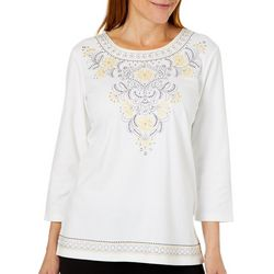 Alfred Dunner Petite Native New Yorker Jeweled Floral Top