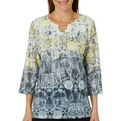 Alfred Dunner Petite Native New Yorker Floral Keyhole Top
