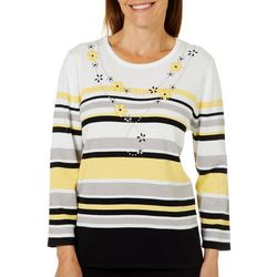 Alfred Dunner Petite Native New Yorker Striped Sweater