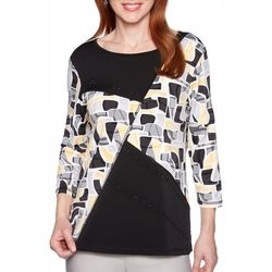 Alfred Dunner Petite Native New Yorker Embellished Geo Top