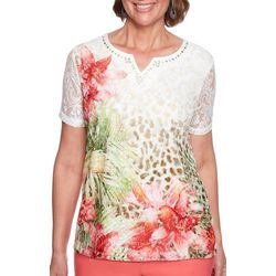 Alfred Dunner Petite Parrot Cay Tropical Floral Top