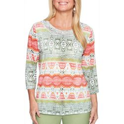 Alfred Dunner Petite Parrot Cay Embellished Tribal Print Top