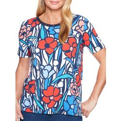 Alfred Dunner Petite Stained Glass Floral Top