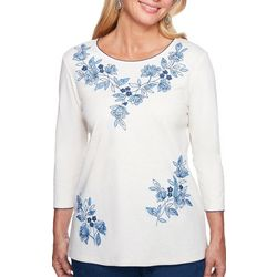 Alfred Dunner Petite Floral Embroidered Floral Top