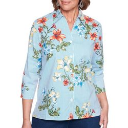 Alfred Dunner Petite Stripe Floral Button Down Top