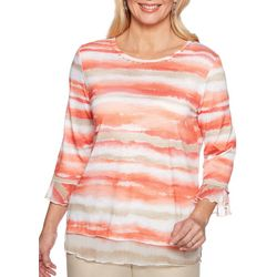Alfred Dunner Petite Martinique Watercolor Stripe Top